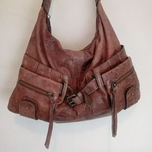 TANO Cognac Leather Slouchy Shoulder Bag Anthro